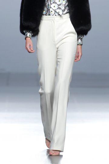 Pantalón blanco en crepe de lana blanco