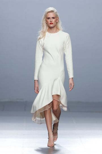 White wool crepe dress
