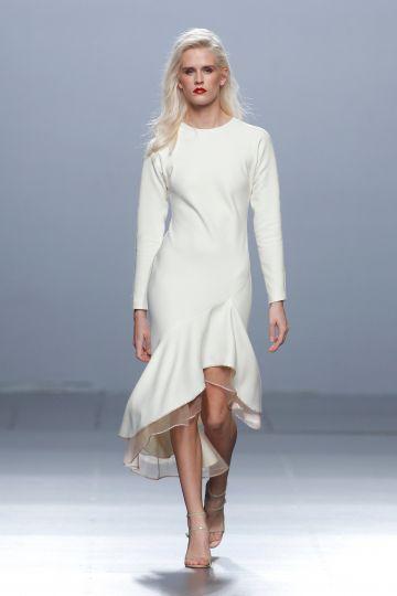 Vestido blanco crepe lana
