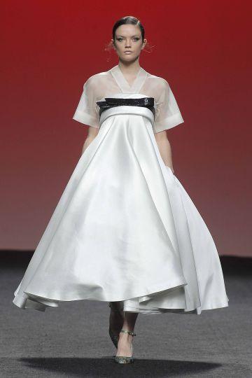 Mikado strapless gown