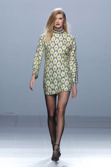 Long-sleeved print gazar dress