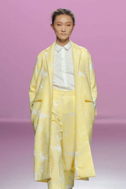 Yellow Jacquard coat