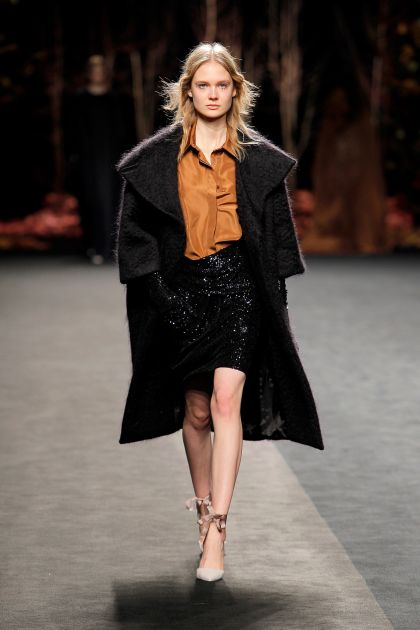 Mohair coat, taffeta shirt & mini paillettes skirt