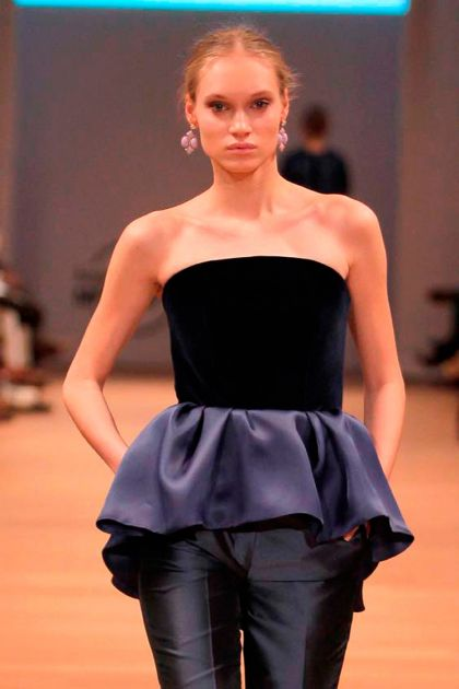 Strapless top with ruffle