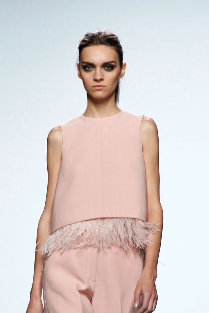 Wool crepe and feathers top