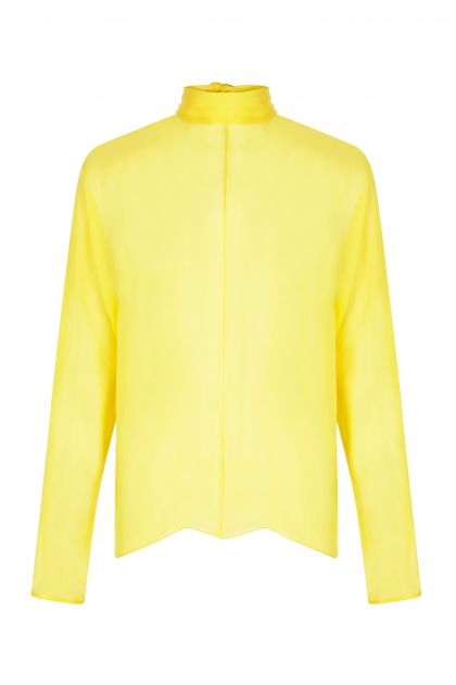 Yellow gauze top