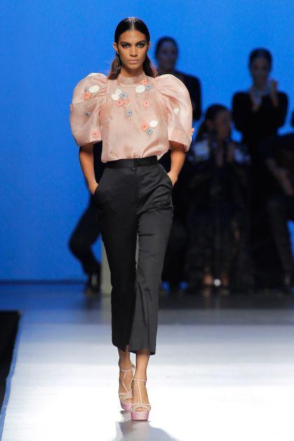 Organza top & stretch trousers