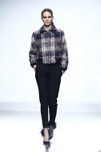 Mohair coat & wool crepe trousers