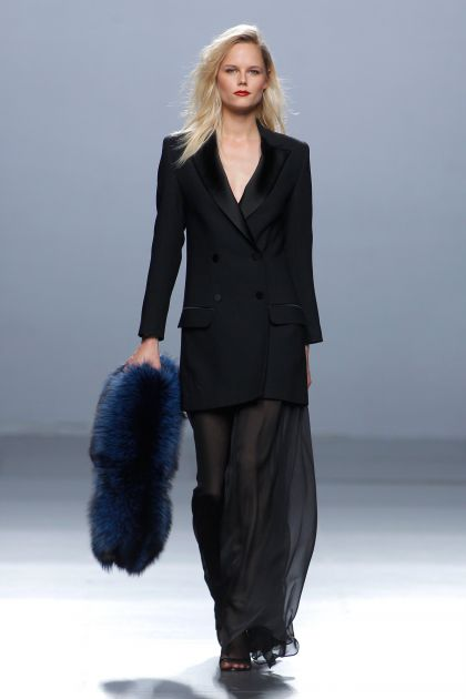 Black smoking jacket & muslin trousers