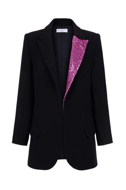 Paillettes lapel blazer