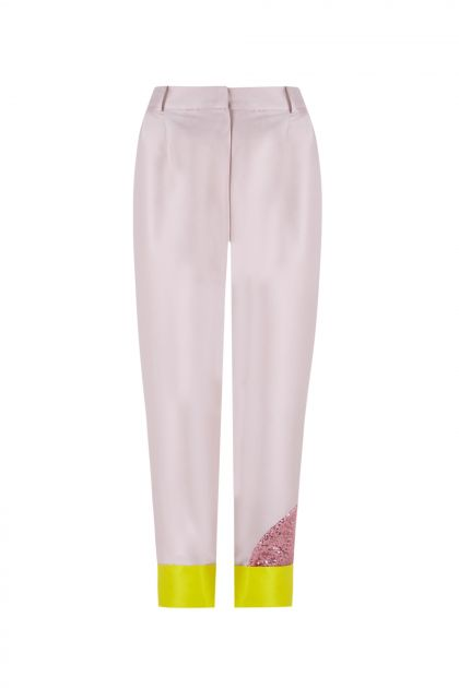 Patch mikado trousers