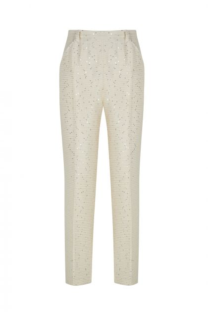 Tweed paillettes capri pants