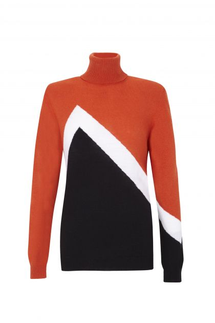 Tricolor knit sweater