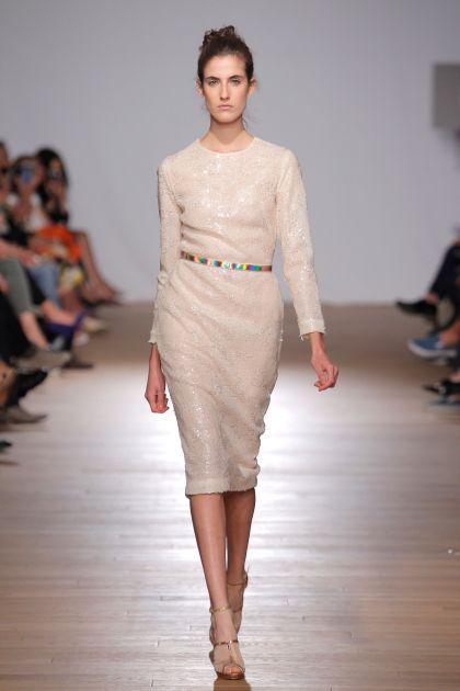 White paillettes midi dress