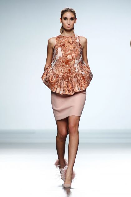 Cloqué and wool crepe dress