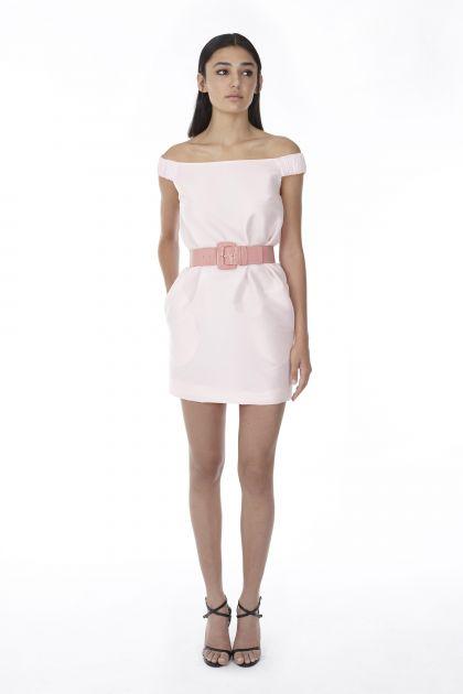 Mini vestido en tafeta rosa pastel