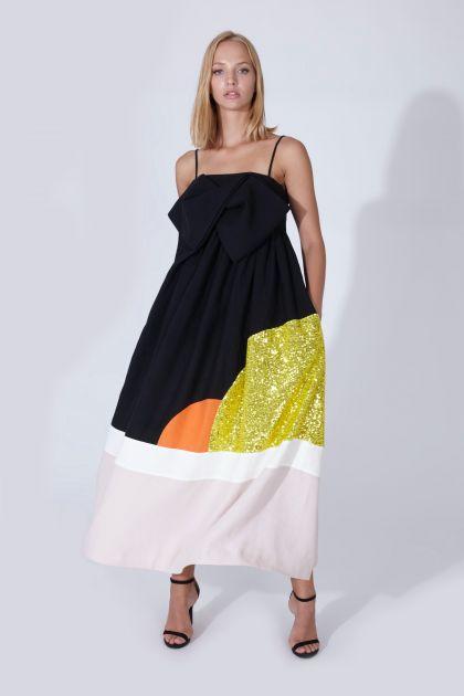 Vestido strapless lino