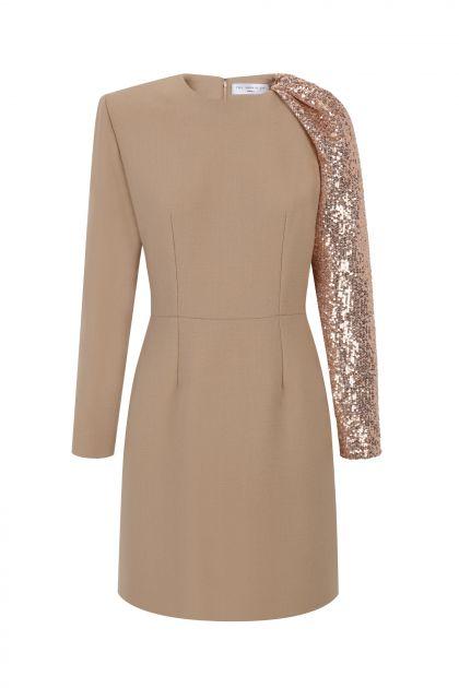 Crepe & paillettes mini dress