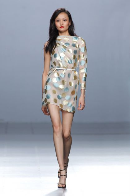 Asymmetrical fil coupé short dress