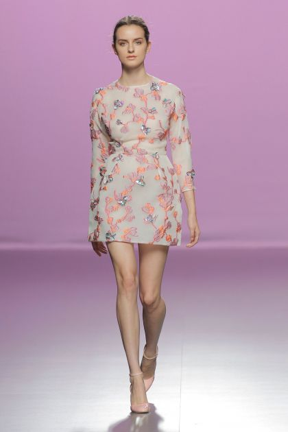Pink flowered mini-dress