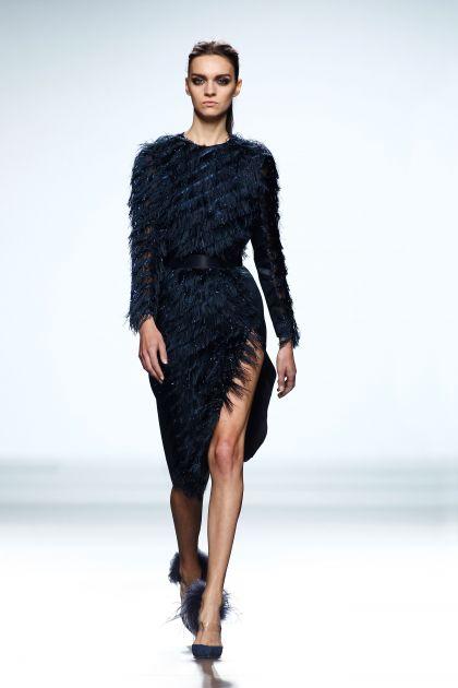 Long sleeved fringed dress