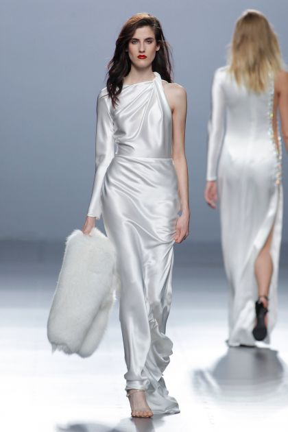 Long white dress with draping