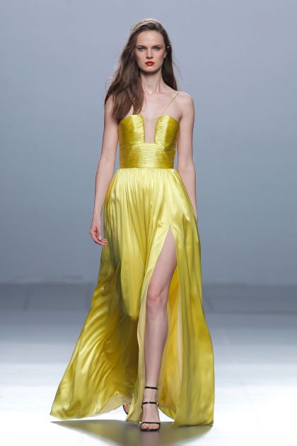 Yellow satin dress with draping