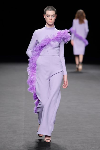 Jumpsuit with ostrich feathers