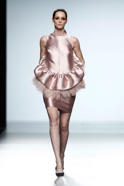 Mikado and feathers dress
