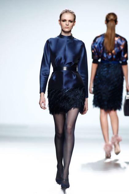 Fringed mikado dress