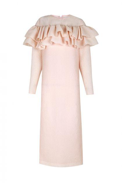 Pink martelé dress with ruffles