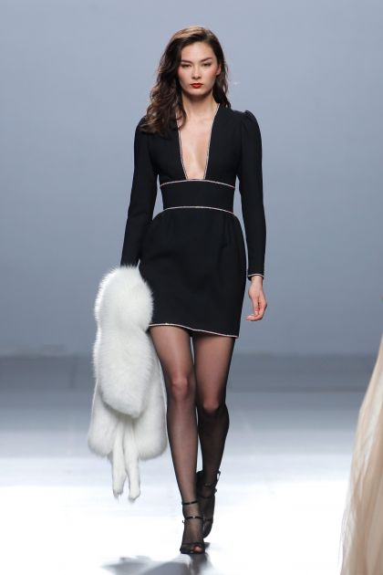 Short black wool crepe dress