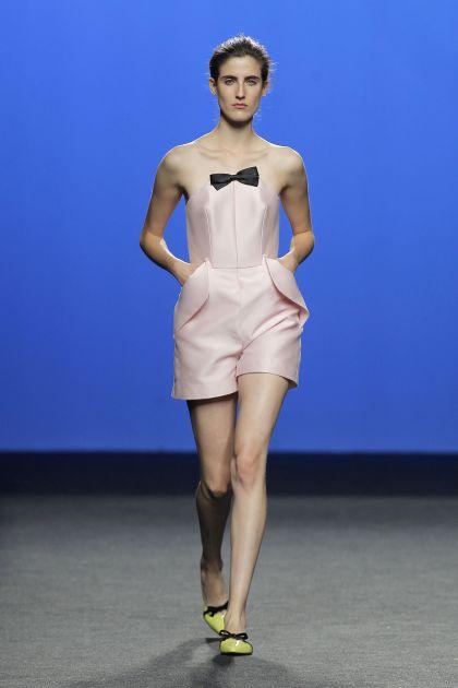 Pink mikado strapless jumpsuit