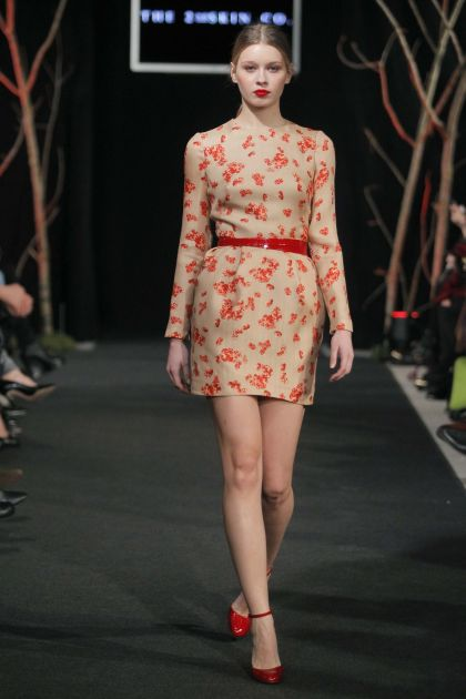 Nude dress with red print