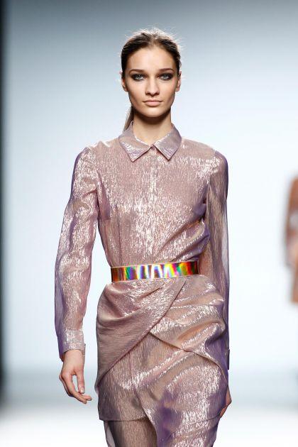 Shirtwaist lurex dress