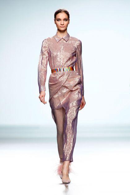 Lurex shirtwaist dress & skinny trousers