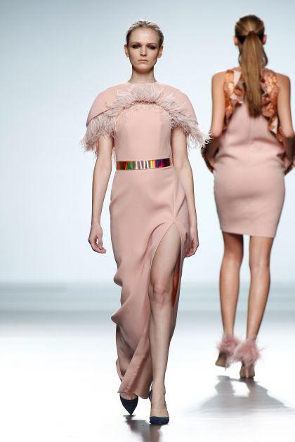 Long crepe dress and hood