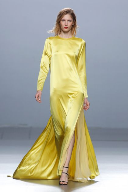 Yellow satin dress