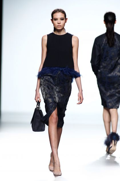 Wool crepe with feathers dress