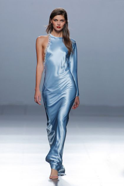 Long dress with rhinestones and side opening