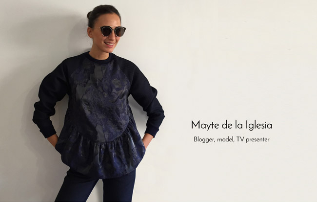 Mayte and our ruffle sweatshirt